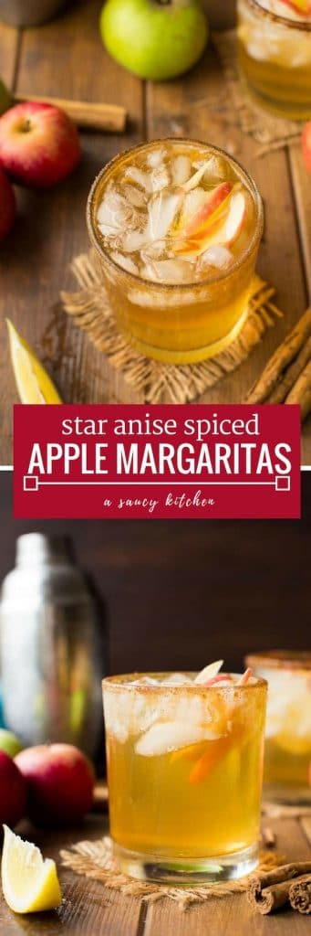 Sweet and simple Apple Margaritas with a star anise spiced simple syrup - the perfect cocktail to make yourself this fall!