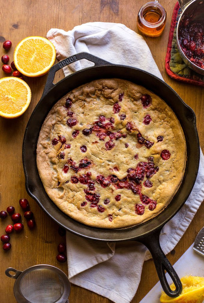 Paleo Cranberry Orange Dutch Baby