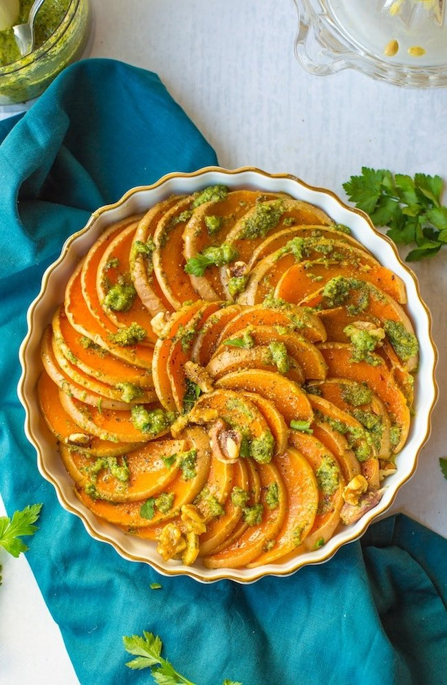 Roasted Butternut Squash with Walnuts & Parsley Pesto