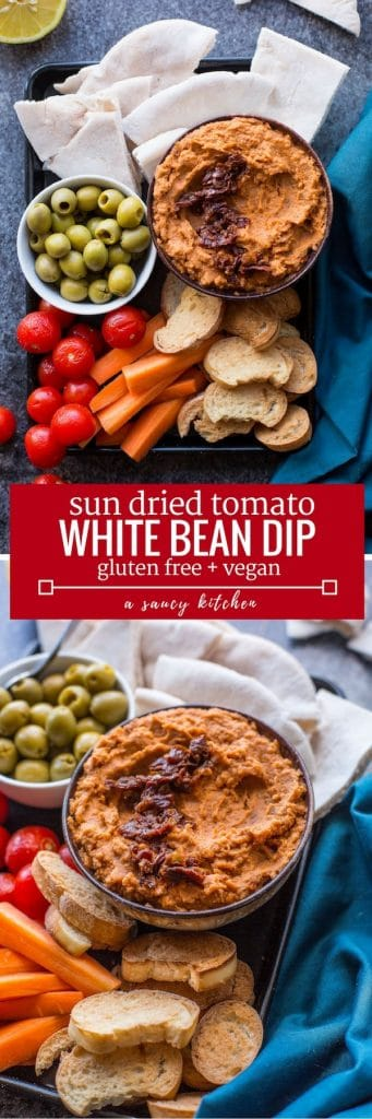sun dried tomato & white bean dip long pin graphic