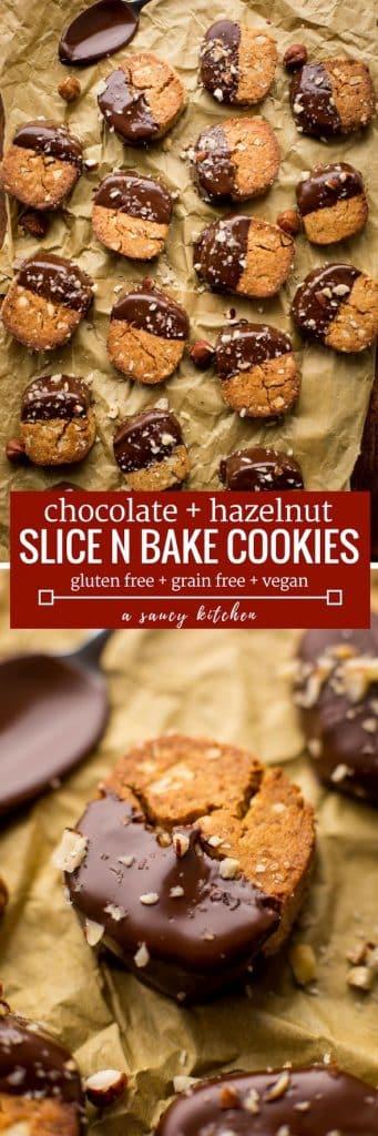 Chocolate and Hazelnut Slice and Bake Cookies - crunchy, toasted hazelnut cookies dipped in dark chocolate Grain Free + Vegan