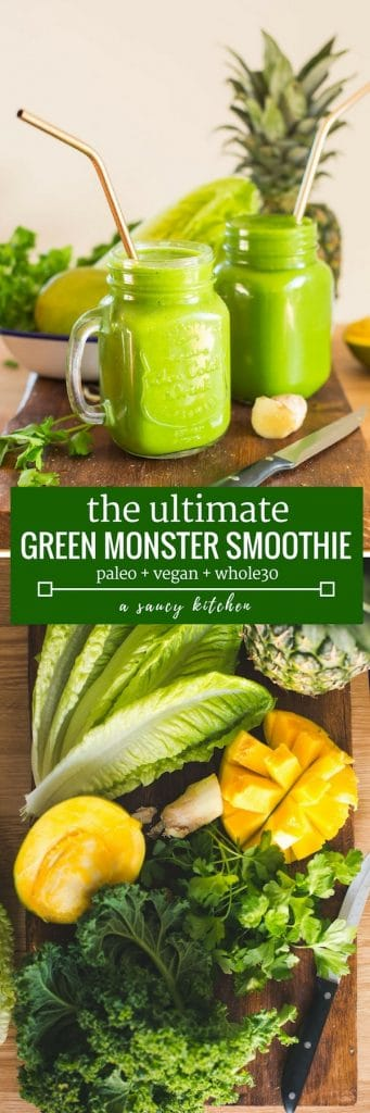 Green Monster Smoothie - loaded with anti inflammatory fruits and vegetables, herbs & spices. Enjoy as a starter to your morning or when you need a pick-me-up throughout the day! Paleo + Vegan | long pinterest graphic