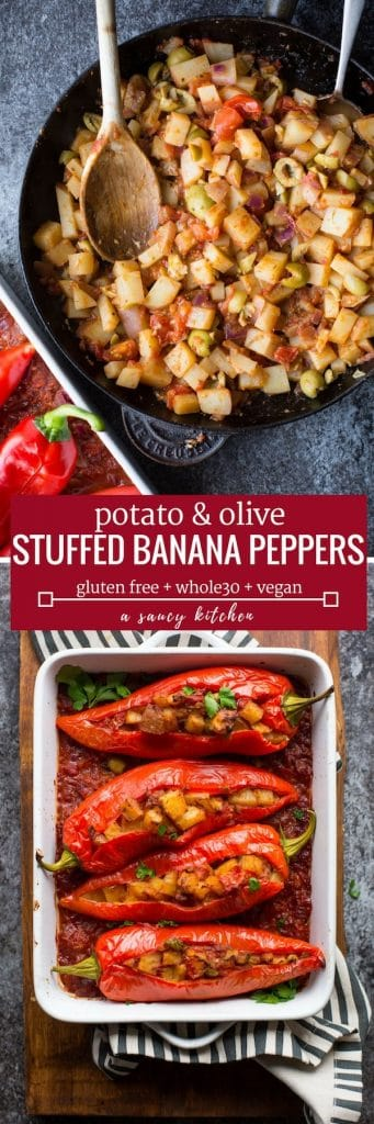 Mediterranean inspired Potato and Olive Stuffed Banana Peppers - hearty, filling and made with only 10 ingredients! | Paleo + Vegan + Whole30 pin graphic