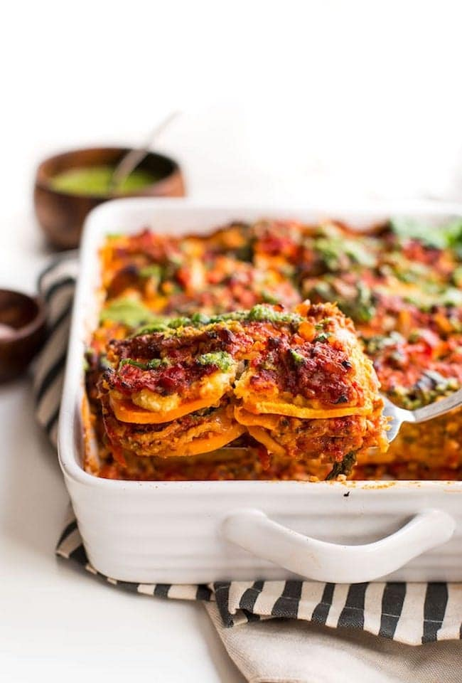Slice of Paleo Sweet Potato Lasagna