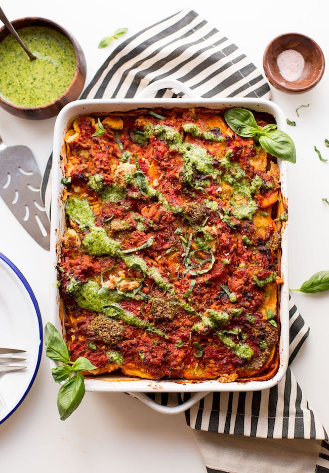 Paleo Sweet Potato Lasagna with Almond Ricotta & Basil Pesto
