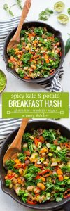 Spicy Kale Potato Breakfast Hash long pinterest graphic with text