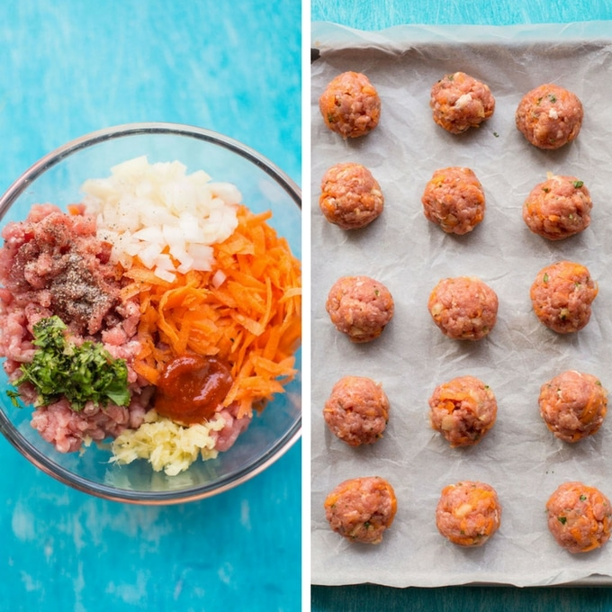 Honey Sriracha Turkey Meatballs prep: bowl of unmixed meatball ingredients on left and rolled meatballs in baking sheet on the right