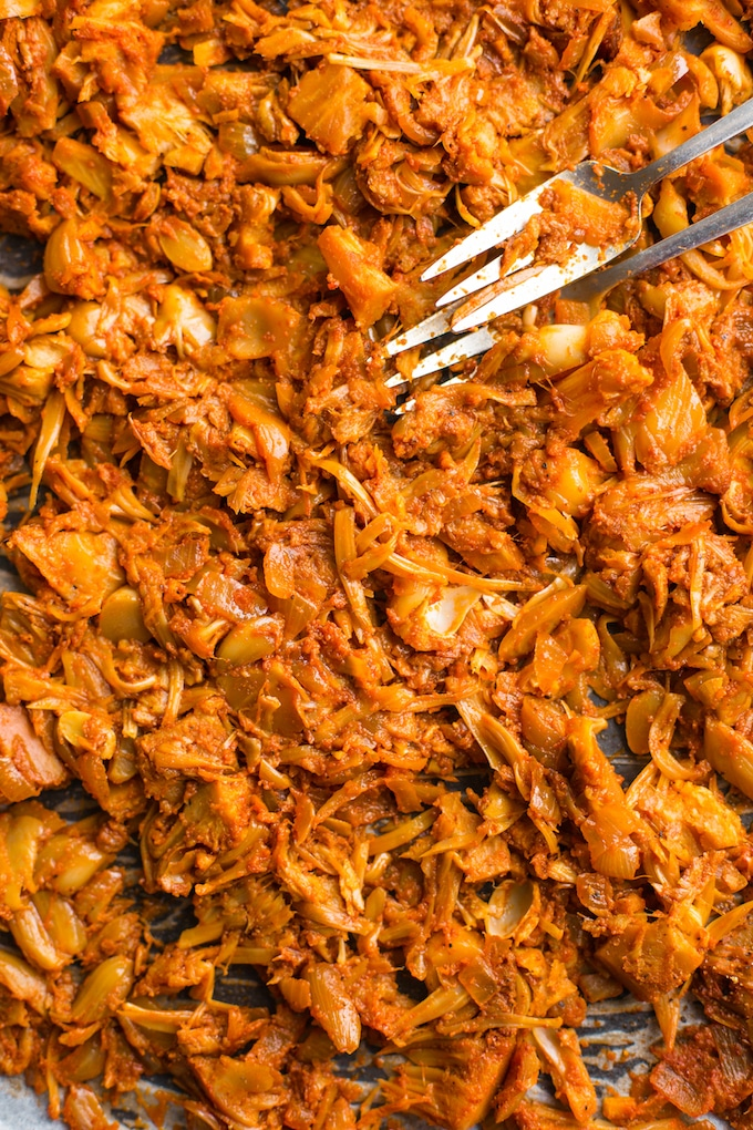 BBQ Jackfruit Pulled 'Pork' up close on a baking sheet