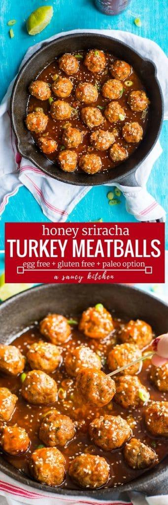 sriracha turkey meatballs pinterest long pin graphic