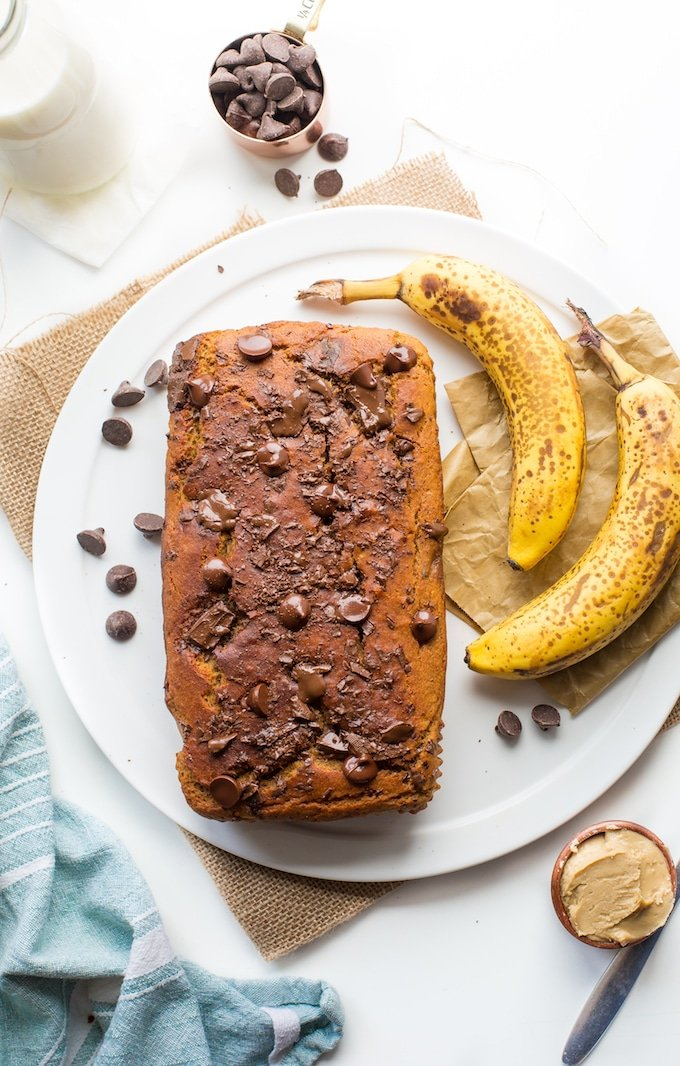 Chickpea Flour Vegan Banana Bread with ripe bananas and chocolate chips