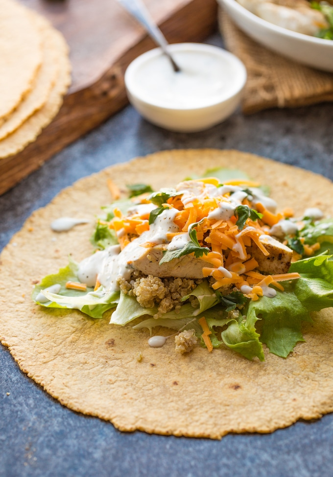 Low FODMAP Quinoa Chicken Ranch Wraps - gluten free tortilla filled with chicken, lettuce, cheese & low FODMAP ranch