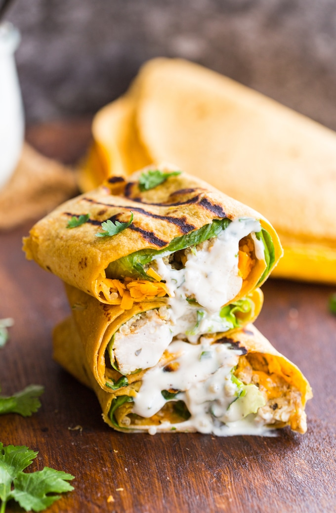 Low FODMAP Quinoa Chicken Ranch Wraps cut in half & stacked on top of each other