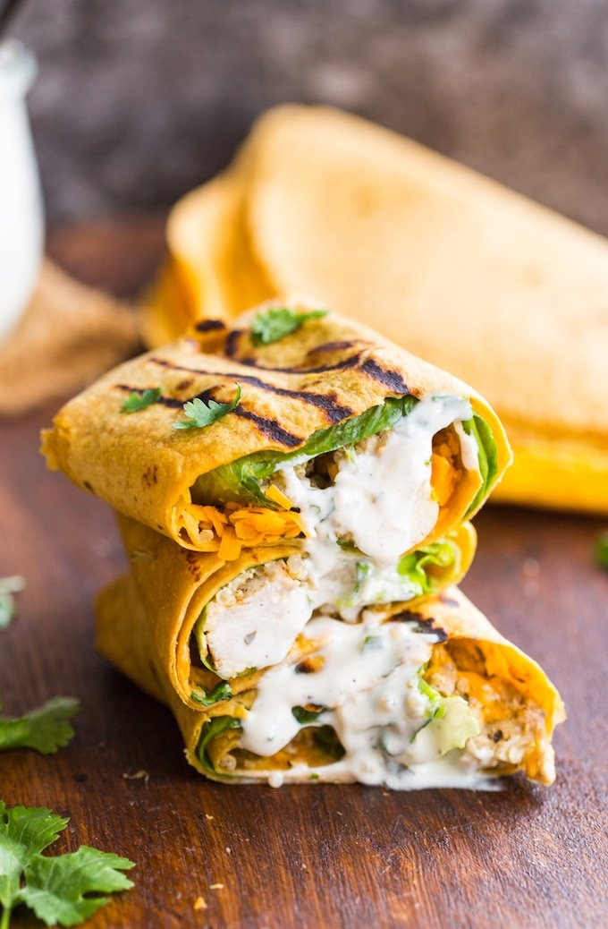 Low FODMAP Quinoa Chicken Ranch Wraps