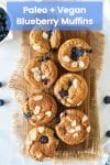 Paleo Vegan Blueberry Muffins on a wooden board and topped with flaked almonds