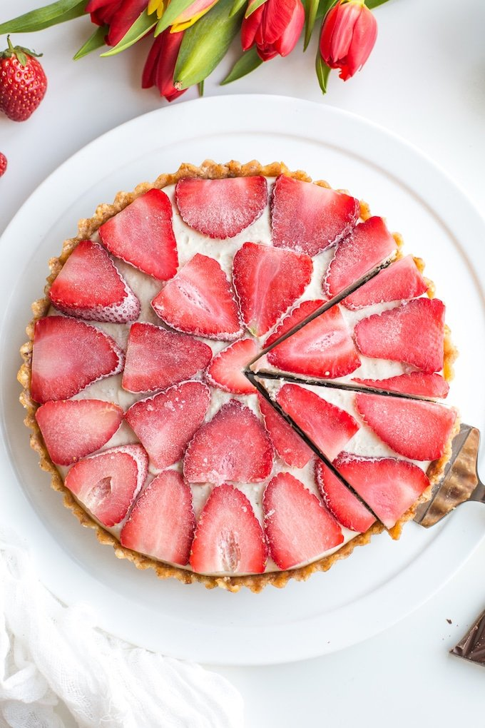 Strawberry Vanilla Vegan Cheesecake