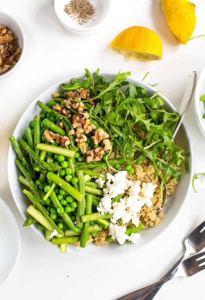 Spring Quinoa Pea & Asparagus Salad premixed in a bowl