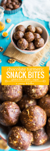 Chocolate and Turmeric Snack Bites - perfect little bites for when you're in need of a quick snack or are craving something sweet! #GlutenFree + #Vegan + #Paleo