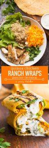 Low FODMAP quinoa chicken ranch wraps pinterest graphic - gluten free