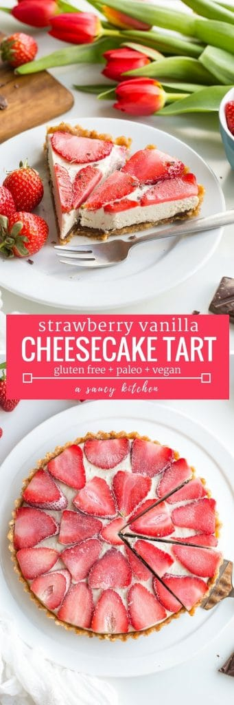 Strawberry Vanilla Vegan Cheesecake pinterest graphic: A thick and creamy cashew vanilla cream topped with sliced strawberries over a layer of melted chocolate and a naturally sweetened date & hazelnut crust | Paleo + Raw