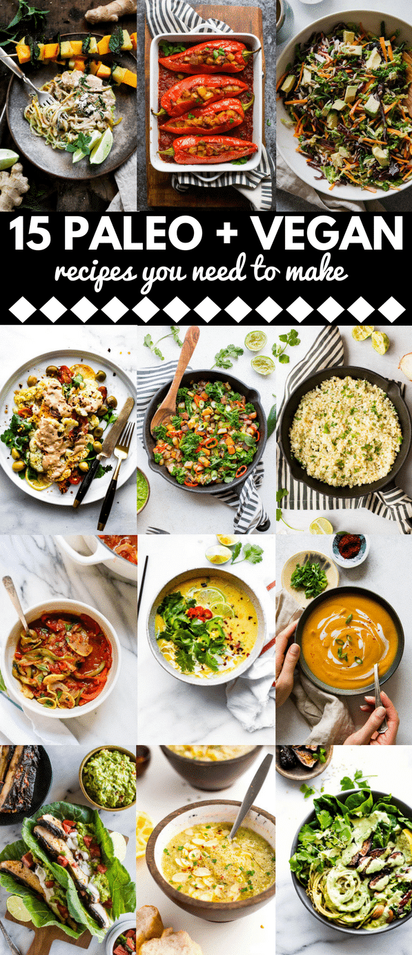 15 plant focused, savoury vegan + paleo recipes that'll make you glow! From cozy soups, creamy sauces, and colourful salads - here are 15 delicious ways to eat more veggies! #paleo #vegan #glutenfree