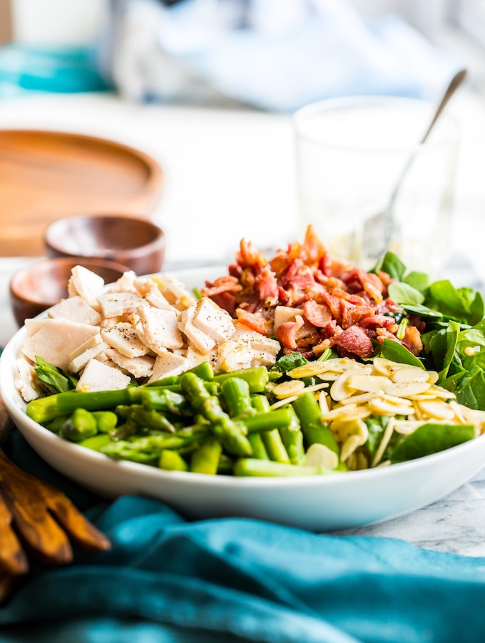 Chicken Bacon Spinach & Asparagus Salad