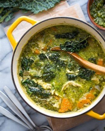 Kale & Chicken Pesto Soup