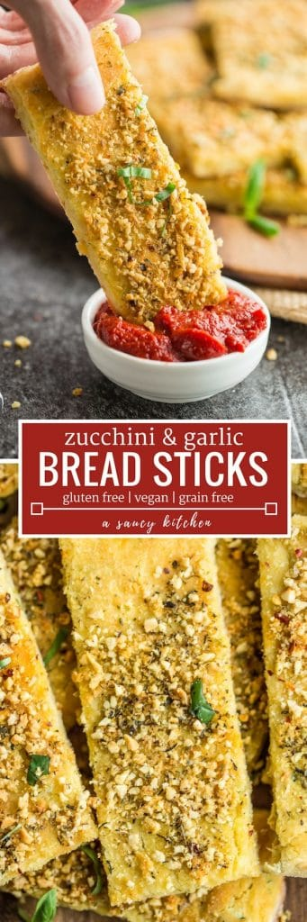 Gluten Free Breadsticks with Zucchini long pinterest graphic