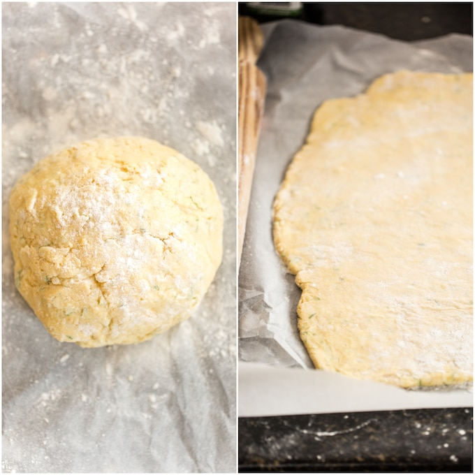 Gluten Free Breadsticks dough in a ball on the left and and rolled out on the right