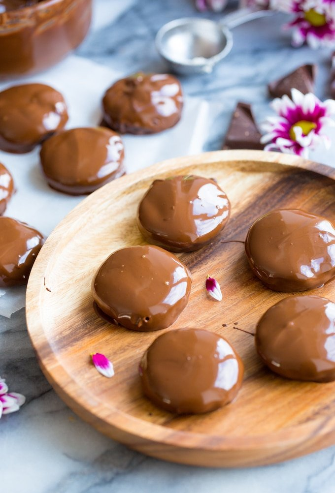 Homemade Coconut Peppermint Patties dipped in chocolate