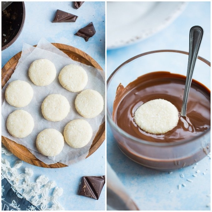 Paleo Peppermint Patties in process: coconut patties on a plate on the right and coconut patty in a bowl of chocolate on the left