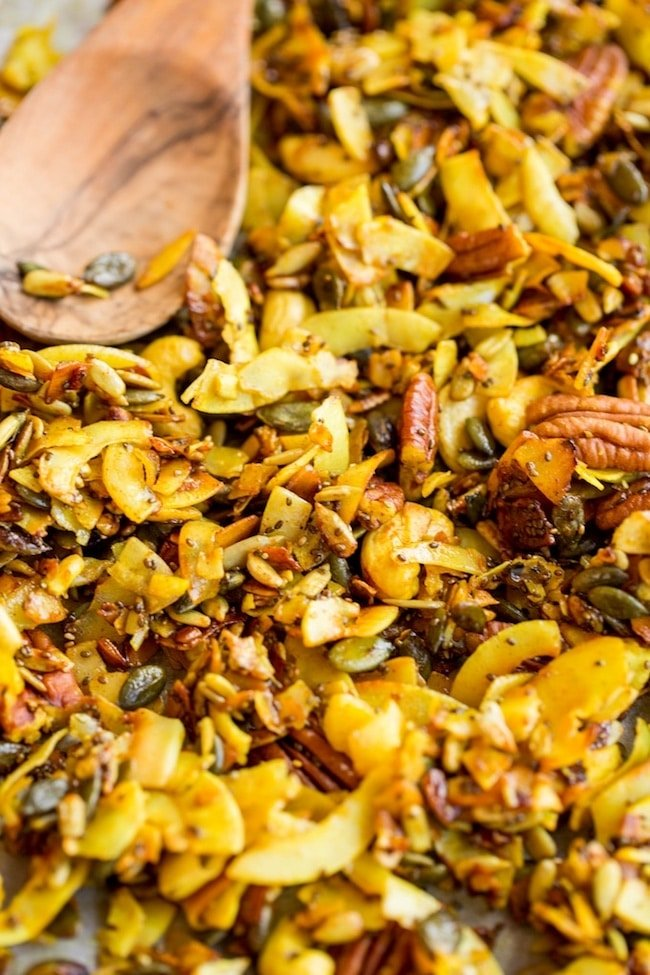 stove top paleo granola spiced with turmeric on a baking sheet