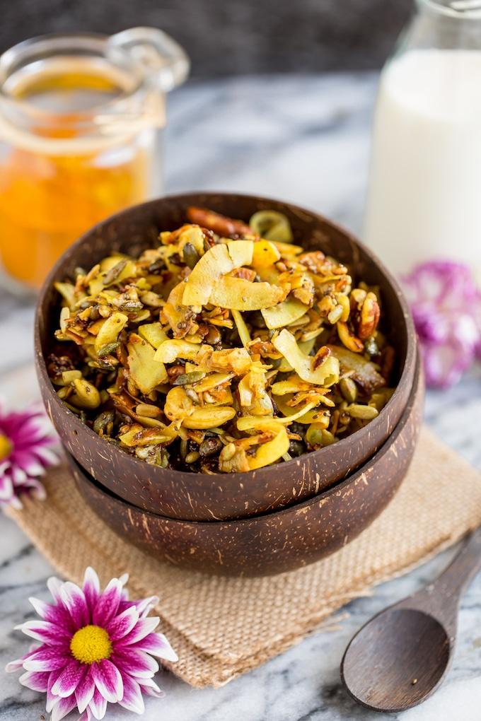 Stove top paleo granola in a bowl #Paleo + #Vegan + #GlutenFree + #Granola