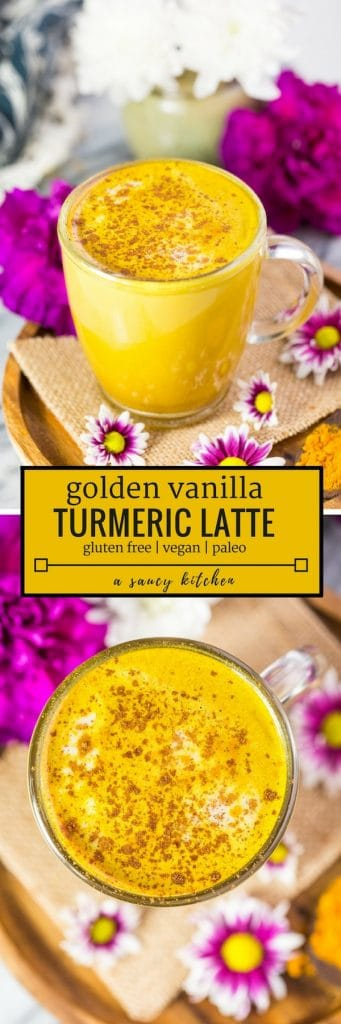 Golden Turmeric Latte pinterest image with text| #GlutenFree + #Vegan + #Paleo