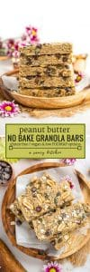 peanut butter no bake granola bars long pinterest graphic with text: gluten free + vegan & low FODMAP options