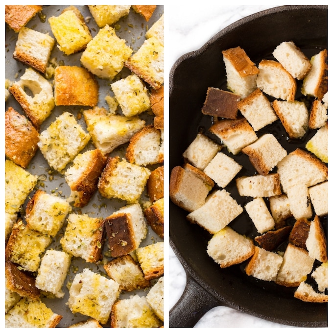 gluten free croutons - 2 ways: on a baking sheet on the left and in a skillet on the right