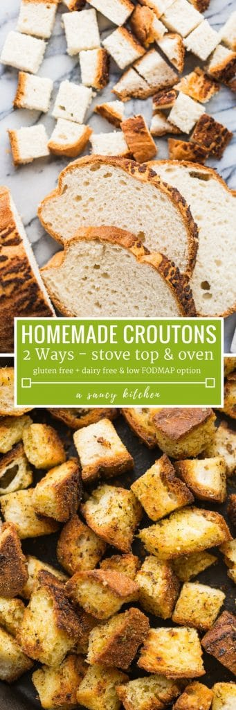 gluten free homemade croutons pinterest graphic: dairy free + low fodmap options
