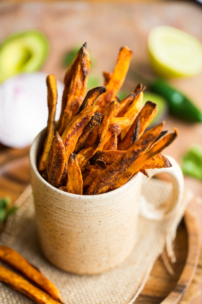 Crispy Baked Sweet Potato Fries in a cup