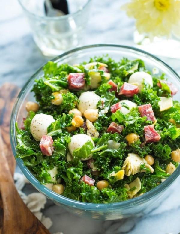Chickpea Kale Antipasto Sala in a bowl