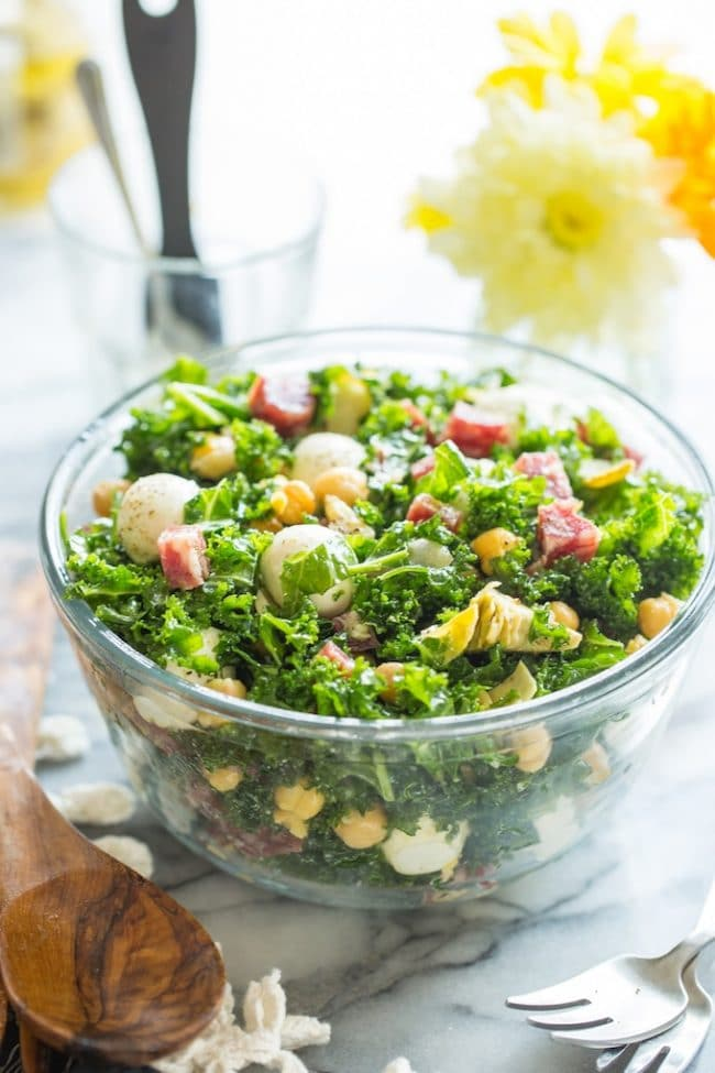 Chickpea Kale Antipasto Salad in a salad bowl
