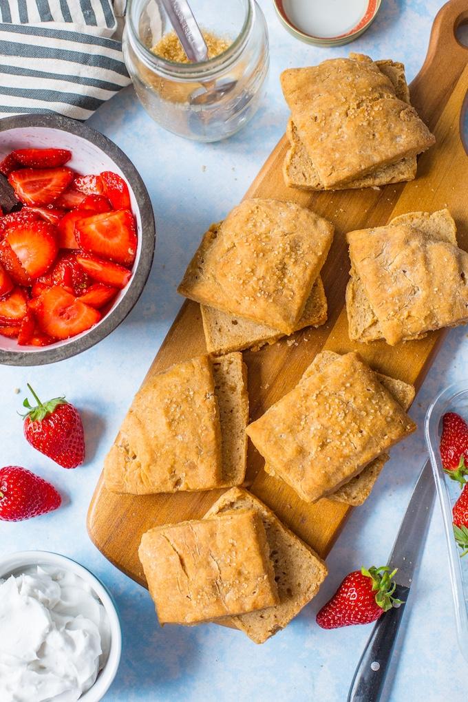 Gluten Free Vegan Strawberry Shortcake biscuits cut in half