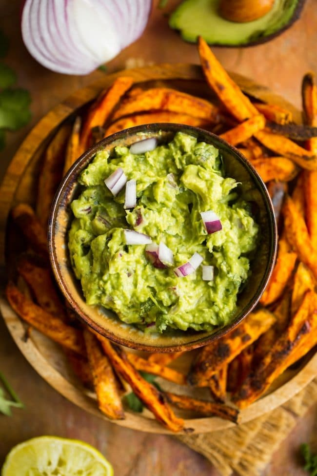 Homemade Guacamole Recipe with sweet potato fries