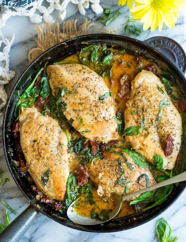 Paleo Sun Dried Tomato Chicken in a skillet topped with chopped basil and oregano
