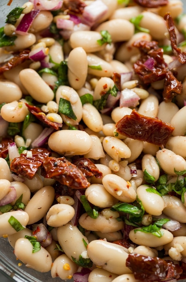 Sun Dried Tomato Cannellini Bean Salad up close