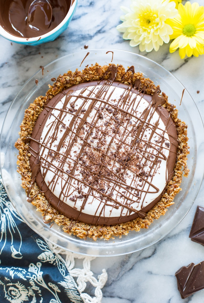 Chocolate Mousse Pretzel Crust Pie