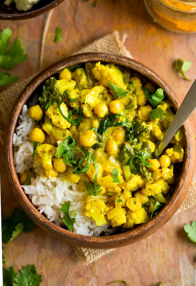 Yellow Cauliflower Chickpea Curry