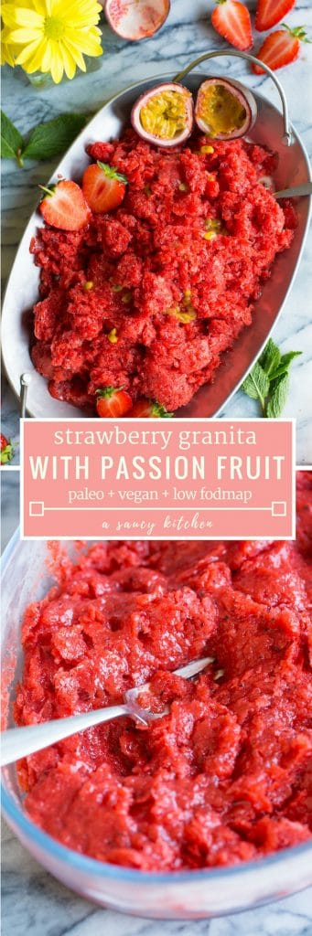 Strawberry Granita with Passion Fruit pinterest graphic
