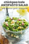 chickpea kale antipasto salad pin graphic