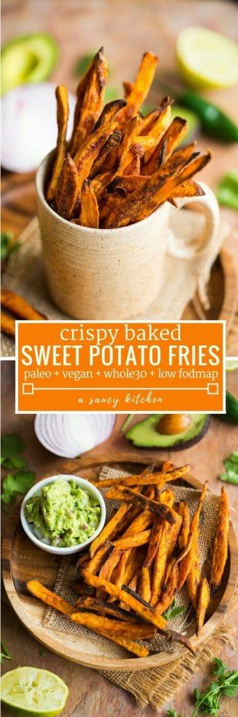 crispy baked sweet potato fries pinterest graphic with text: paleo, low fodmap, vegan, whole30