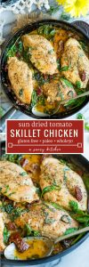 sun dried tomato chicken pin graphic with text: paleo + whole30 + glutenfree