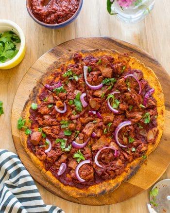Jackfruit BBQ Pizza with a Sweet Potato Crust